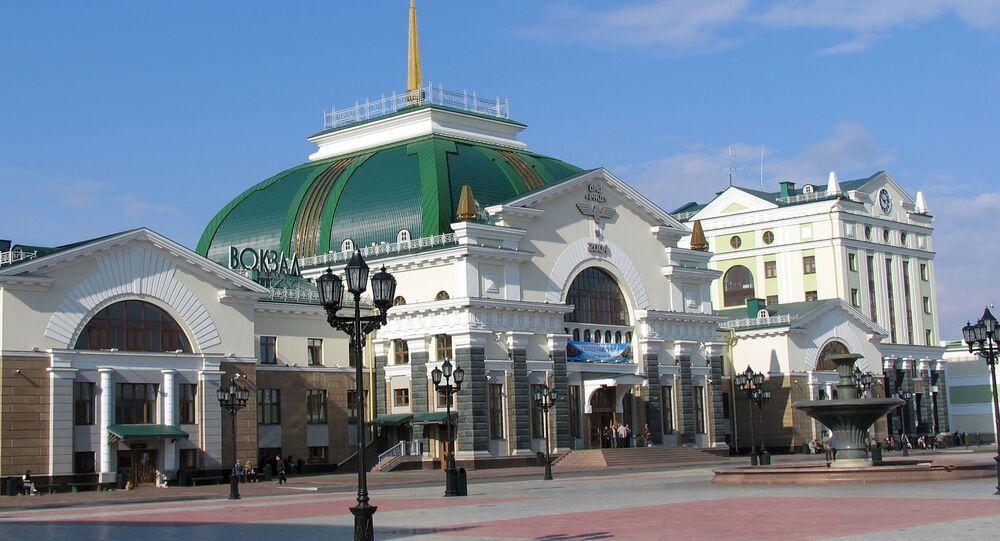 مبنى لمحطة قطار في كراسنويارسك، روسيا