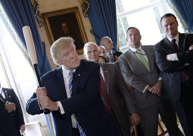 خفاش البيسبول ماروتشي في الغرفة الزرقاء خلال حدث صنع في أمريكا (Made in America) عرض المنتجات في البيت الأبيض في واشنطن العاصمة، في 17 يوليو 2017.