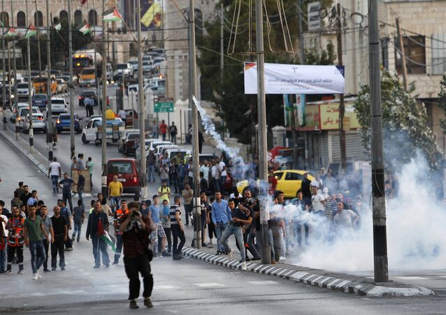 مواجهات بين الفلسطينيين وقوات الأمن الإسرائيلية في بيت لحم، الضفة الغربية، فلسطين 19 يوليو/ تموز 2017