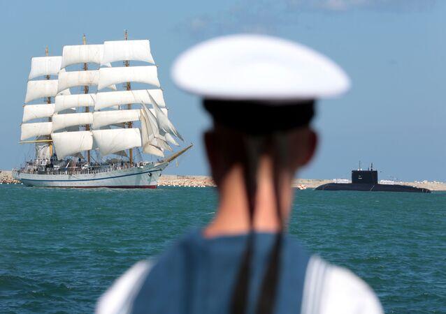 مراسم  الاحتفال بيوم القوات البحرية الروسية في سيفاستوبل، القرم، روسيا