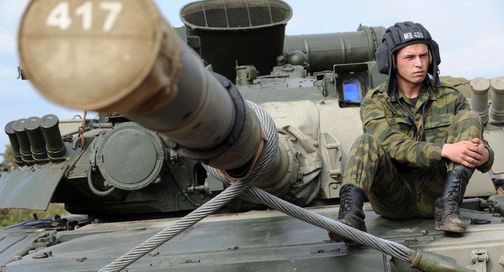 إحدى دبابات الجيش الروسي المشاركة في تمرين الغرب