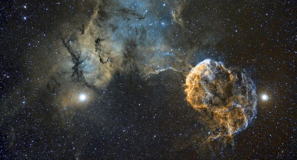 القائمة القصيرة لمسابقة التصوير الفلكي الدولية أستروفوتوغروفي لعام 2017 (Insight Astronomy Photographer of the Year) - صورة بعنوان سديم قنديل البحر (Sh2-249 Jellyfish Nebula)  للمصور كريس هيبي
