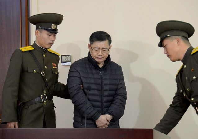 القس الكندي أثناء محاكمته في كوريا الشمالية