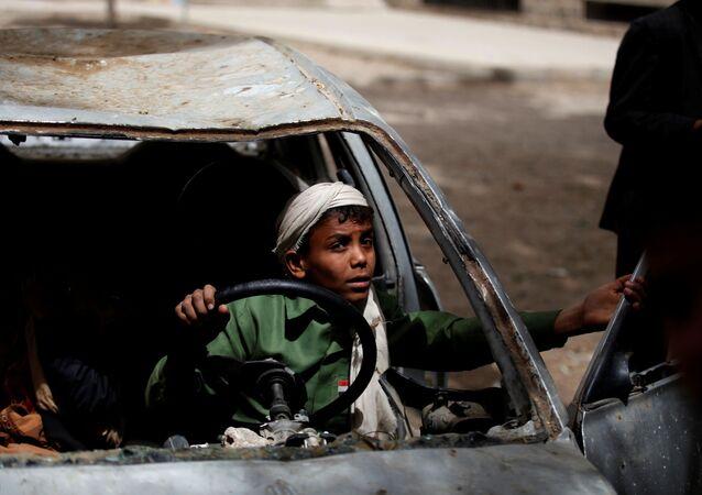 طفل يمني في صنعاء، اليمن
