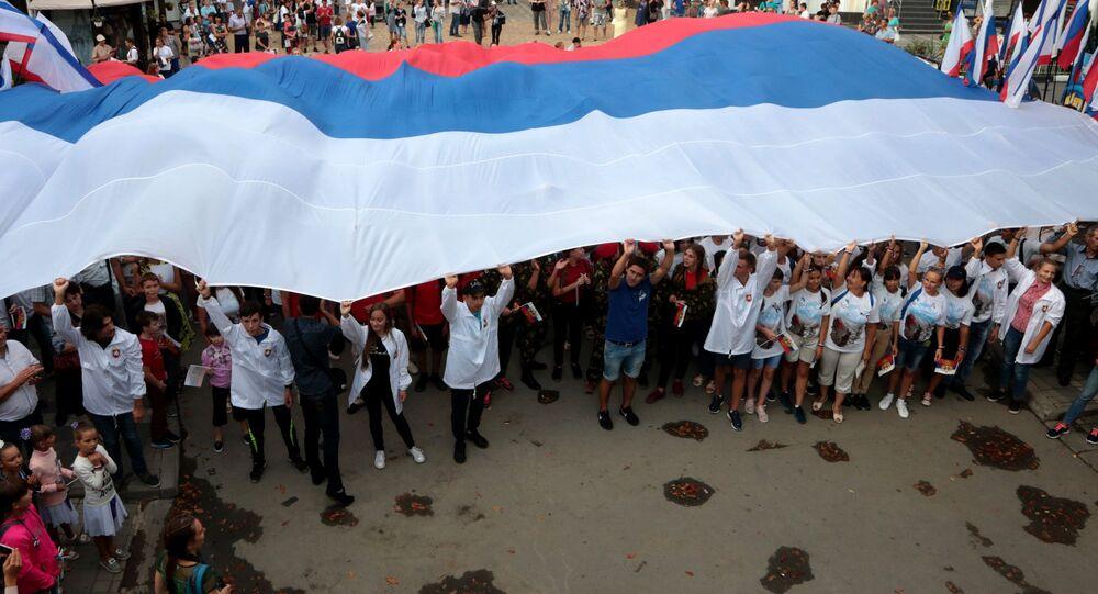 يوم علم روسيا في سيمفيروبل، جمهورية القرم، روسيا
