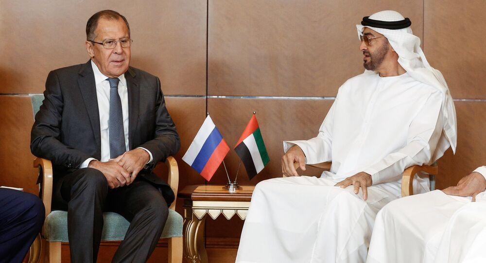 وزير الخارجية الروسي سيرغي لافروف خلال زيارته إلى الإمارات، 29 أغسطس، 2017