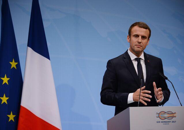 الرئيس الفرنسي إيمانويل ماكرون، هامبورغ، ألمانيا