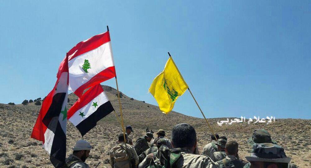 قوات المقاومة حزب الله ترفع أعلام لبنان وسوريا في منطقة القلمون، سوريا 28 أغسطس/ آب 2017
