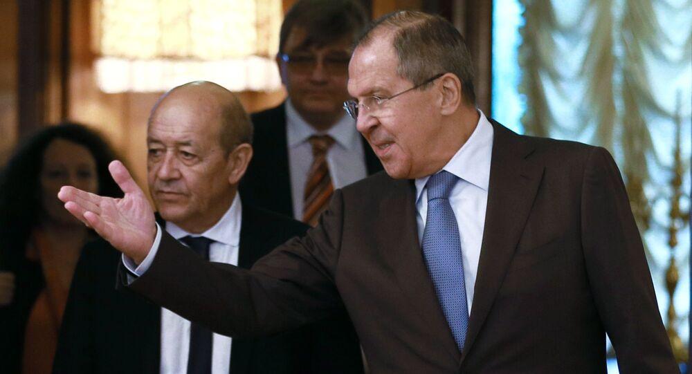 وزير الخارجية الروسي سيرغي لافروف مع نظيره الفرنسي جان إيف لودريان في موسكو، 8 سبتمبر/أيلول 2017