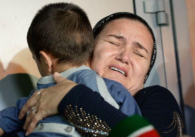 استقبال الأطفال الشيشانيين في مطار غروزني