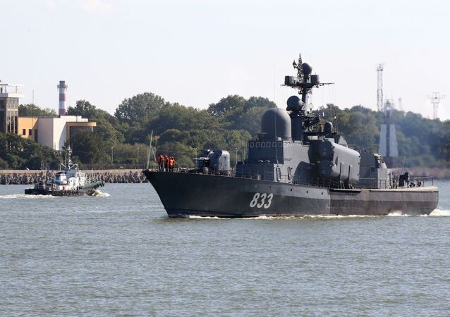 مناورات الغرب-2017 بين روسيا وبيلاروسيا - زورق كبير للصواريخ التابع لسفن أسطول بحر البلطيق