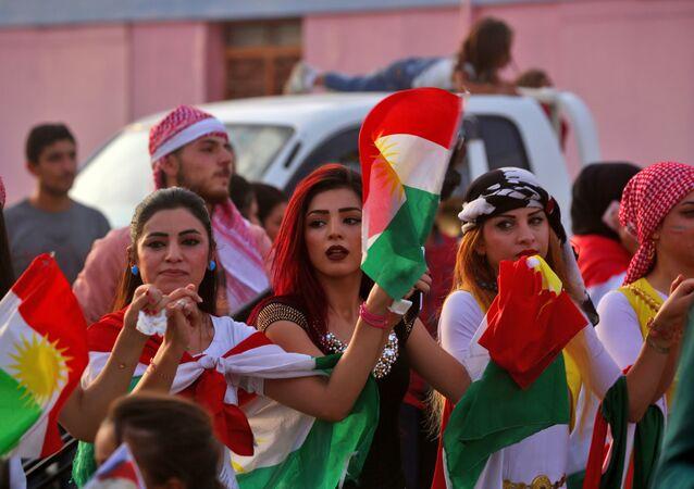 النساء الكرديات خلال مشاركتهن في تصويت استفتاء إقليم كردستان العراق، 25 سبتمبر/ أيلول 2017