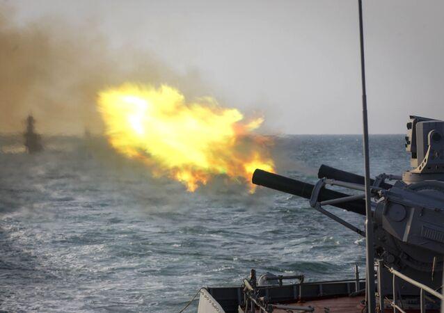 مناورات عسكرية بحرية لأسطول بحر قزوين، روسيا