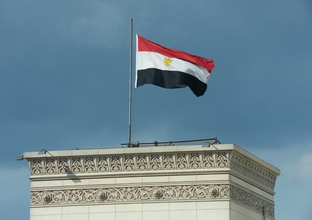 Egypti's national flag on a building in Cairo