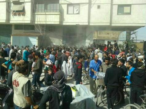 تجمع المدنيين في الغوطة الشرقية