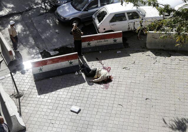 مكان سقوط قذاوف هاون في دمشق