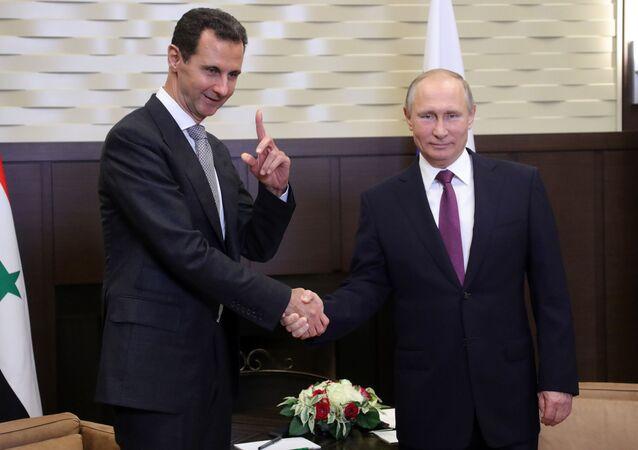 لقاء الرئيس السوري بشار الأسد والرئيس الروسي فلاديمير بوتين في سوتشي