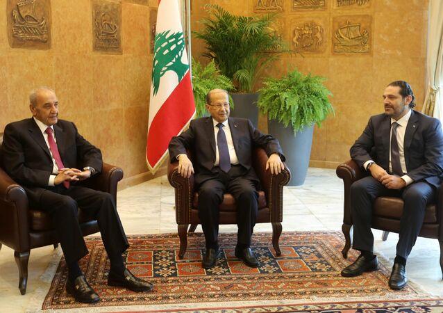 رئيس الوزراء اللبناني سعد الحريري خلال إلقاء كلنته في القصر الرئاسي في بعبدا، لبنان 22 نوفمبر/ تشرين الثاني 2017