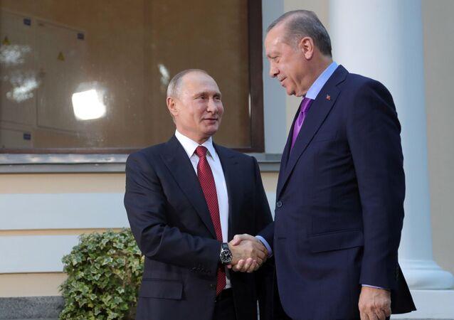 الرئيس فلاديمير بوتين والرئيس التركي رجب طيب أردوغان في سوتشي، 22 نوفمبر/ تشرين الثاني 2017