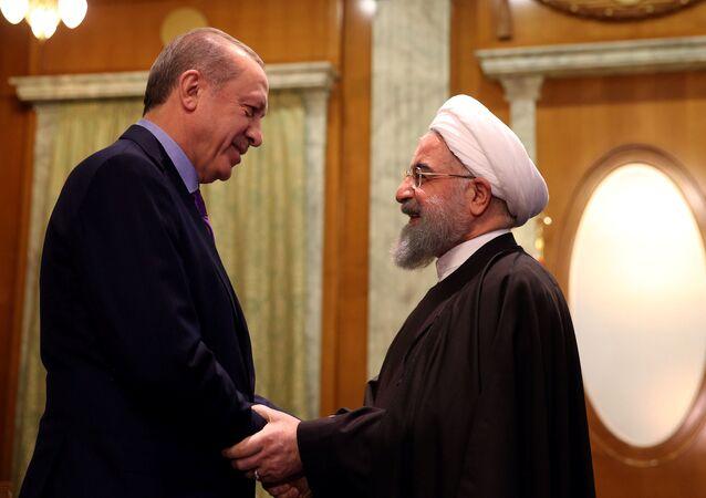 الرئيس الإيراني حسن روحاني والرئيس التركي رجب طيب أردوغان في سوتشي، 22 نوفمبر/ تشرين الثاني 2017