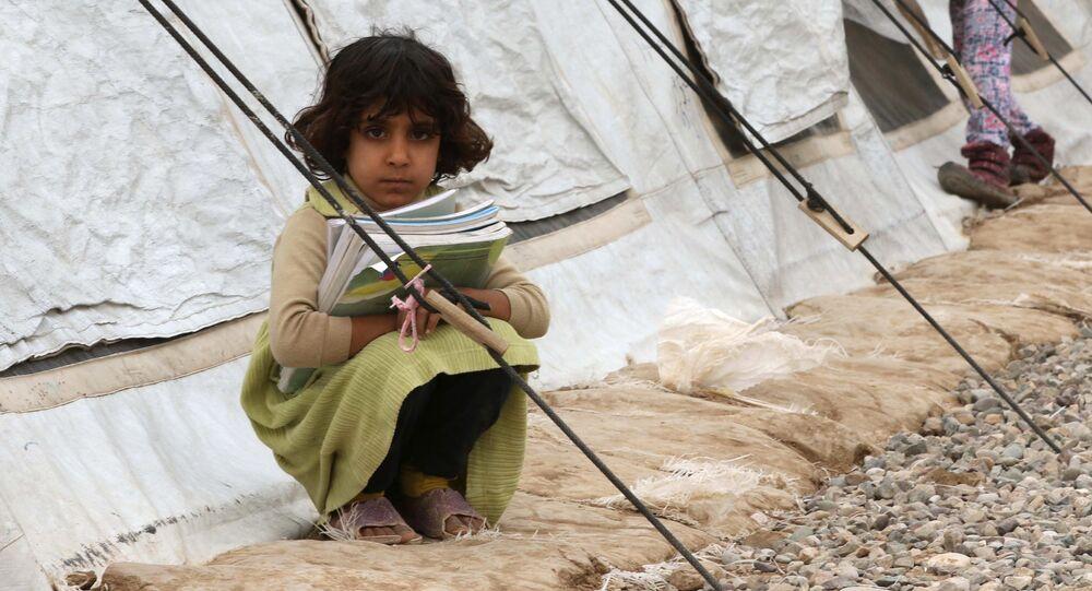 أطفال النازحين من الموصل في مدرسة تابعة لمؤسسة يونيسف شمال العراق، 20 نوفمبر/ تشرين الثاني 2017