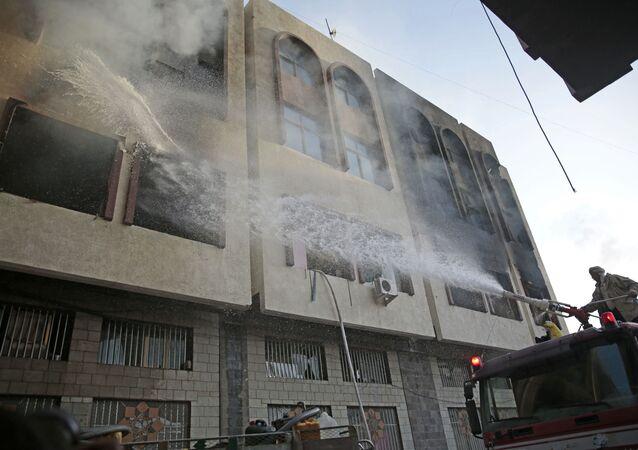 اشعال نار في منزل الرئيس اليمني السابق علي عبدالله صالح في صنعاء، اليمن 4 ديسمبر/ كانون الأول 2017
