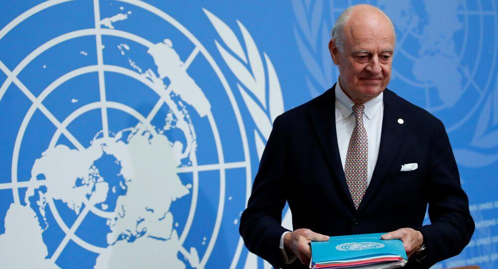 المبعوث الأممي للأزمة السورية، ستيفان دي ميستورا في جنيف، سويسرا 30 نوفمبر/ تشرين الثاني 2017