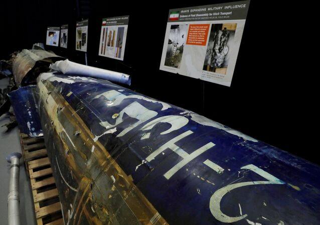 حطام للصاروخ اليمني بركان تو إتش أطلق على السعودية في قاعدة أمريكية