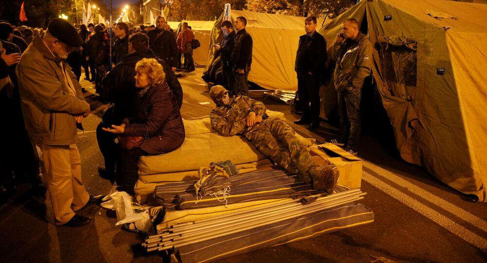 مخيم المشاركين في تظاهرة احتجاجية في كييف