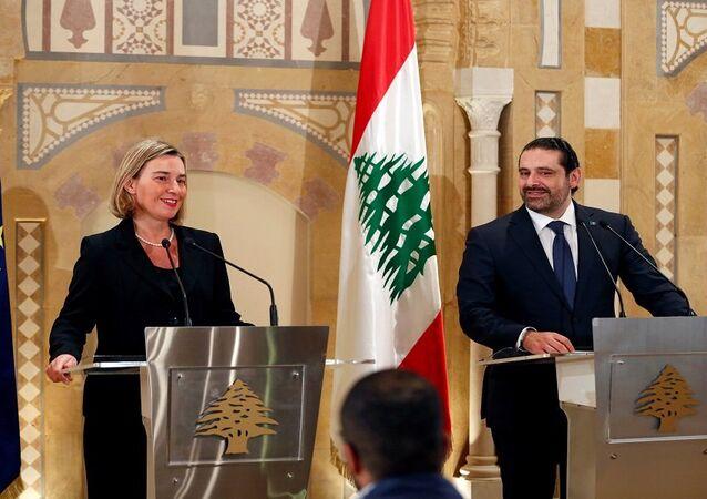 سعد الحريري أثناء لقائه موغيريني