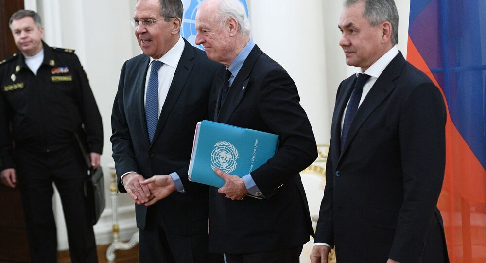 لقاء لافروف ودي ميستورا وشويغو في موسكو في 21 ديسمبر 2017