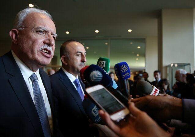وزير الخارجية الفلسطينية رياض المالكي في مؤتمر صحفي في مجلس الأمن، الأمم المتحدة، نيويورك، الولايات المتحدة 21 ديسمبر/ كانون الأول 2017