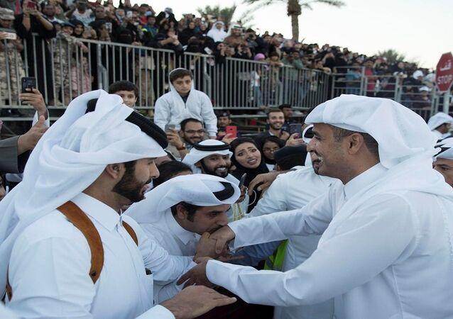أمير قطر خلال الاحتفال باليوم الوطني