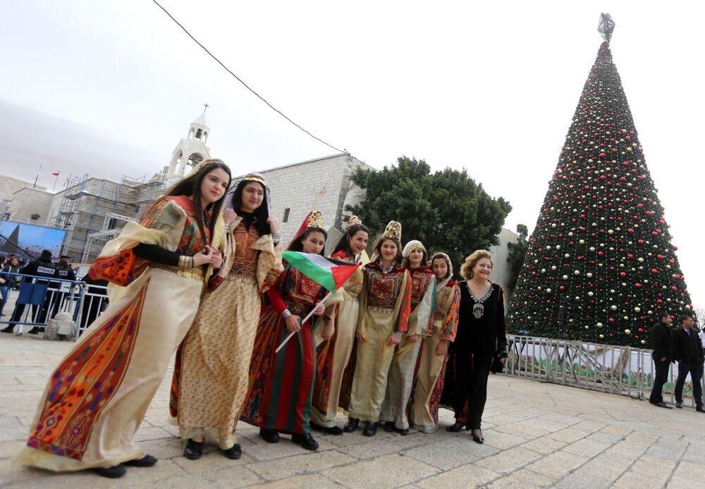الاحتفالات بعيد الميلاد المجيد - بيت لحم، الضفة الغربية، فلسطين 24 ديسمبر/ كانون الأول 2017