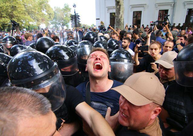 مواجهات مع الشرطة في مدينة أوديسا