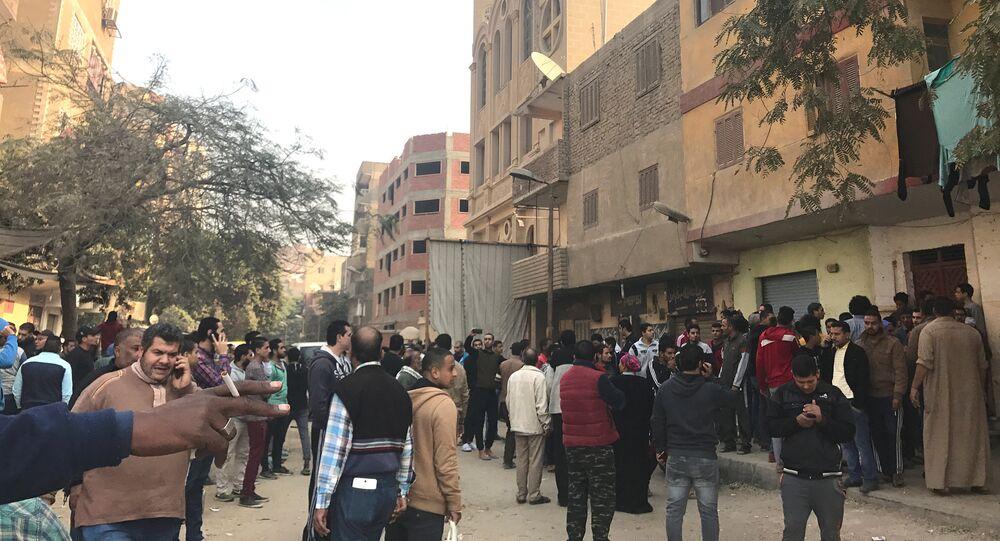 من أمام كنيسة مارمينا في حلوان في مصر