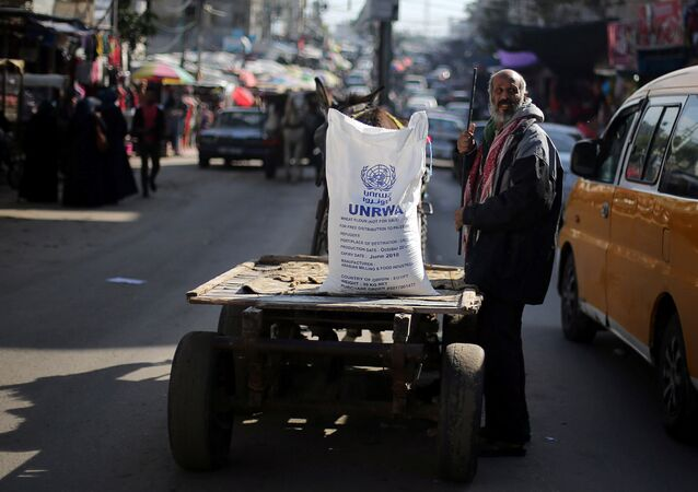 رجل فلسطيني بالقرب من عربة تحمل كيس طحين وزعته الأونروا في مخيم خان يونس للاجئين في جنوب قطاع غزة