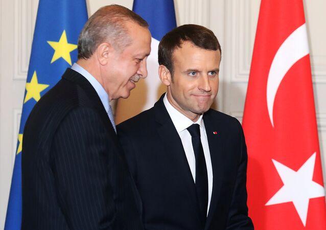 الرئيس الفرنسي إيمانويل ماكرون والرئيس التركي أردوغان في باريس، 5 يناير/ كانون الثاني2017