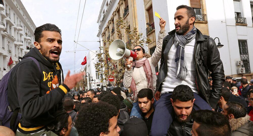 احتجاجات تونس على قانون المالية 12 يناير 2018