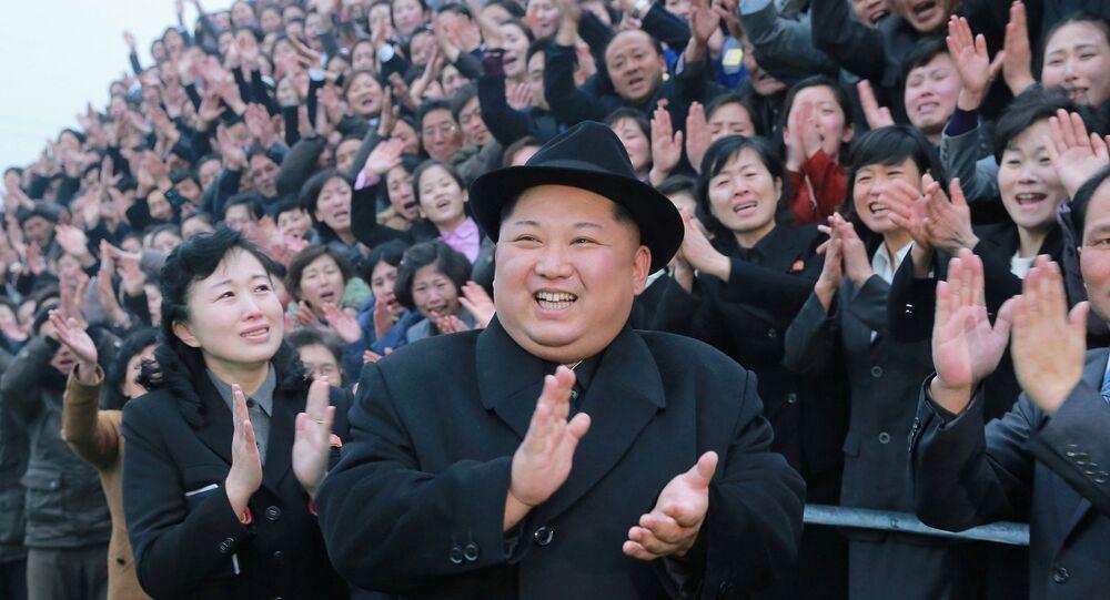زعيم كوريا الشمالية كيم جونغ أون يتفقد كلية تدريب المعلمين في بيونغ يانغ، كوريا الشمالية 17 يناير/ كانون الثاني 2018