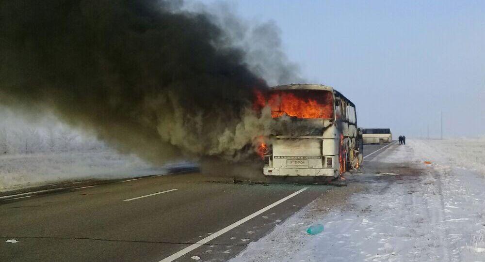 حريق بحافلة في كازاخستان