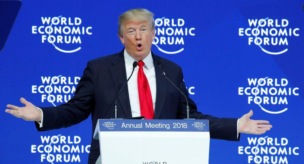 الرئيس الأمريكي دونالد ترامب خلال خطابه بمنتدى دافوس، الجمعة 26 يناير/ كانون الثاني 2018