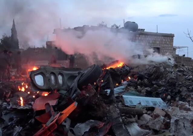 حطام الطائرة الروسية سوخوي-25 في إدلب