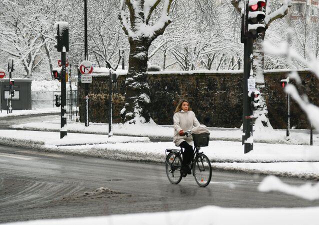 باريس بعد سقوط ثلوج كثيفة، فرنسا