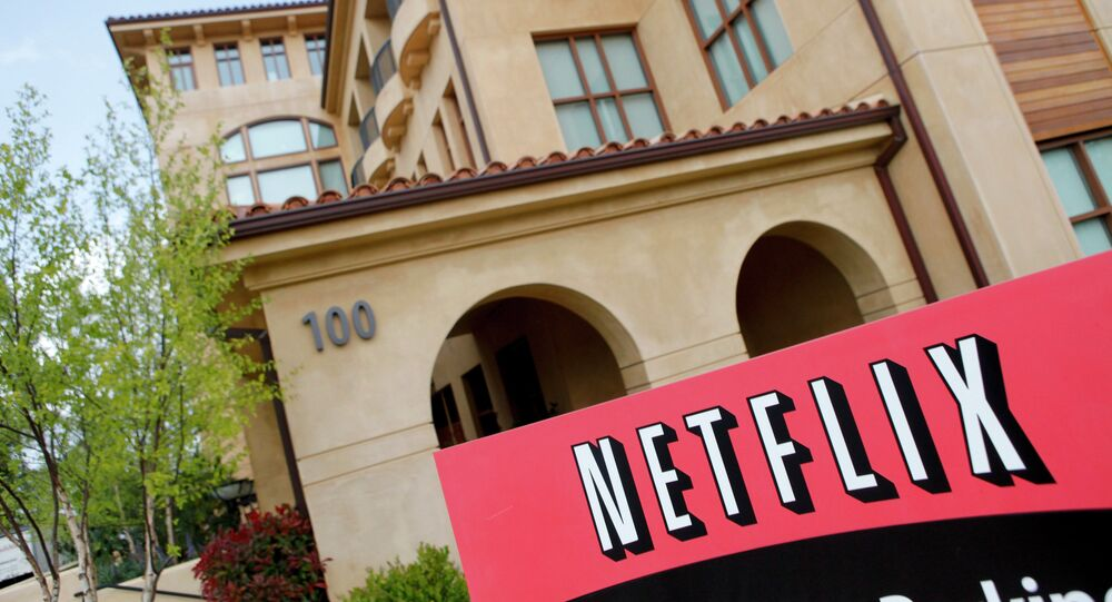شعار شبكة نيتفلكس في مقرها في ولاية كاليفورنيا الأمريكية