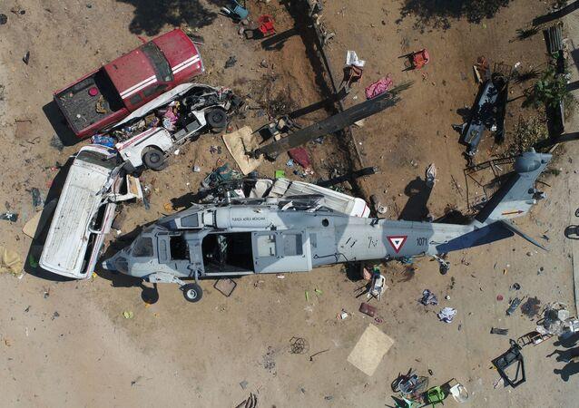 سقوط مروحية عسكرية في سانتياغو-خاميلتيبيك، ولاية أواخاكا، المكسيك 17 فبراير/ شباط 2018