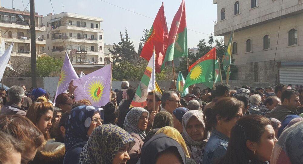 تظاهرة أهالي عفرين ضد العملية الركة