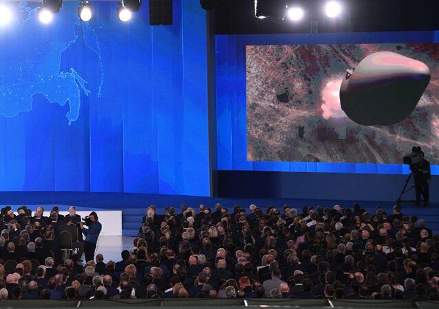 الرئيس الروسي فلاديمير بوتين خلال الرسالة السنوية للجمعية الفيدرالية