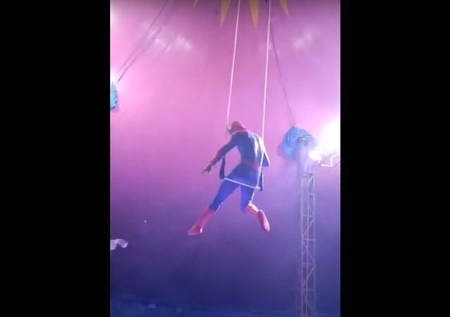 فنان أرجوحة في زي سبايدر مان يسقط في سيرك في البرازيل بعد اختلال توازنه
