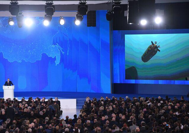 الرئيس الروسي فلاديمير بوتين خلال رسالته السنوية إلى الجمعية الفيدرالية